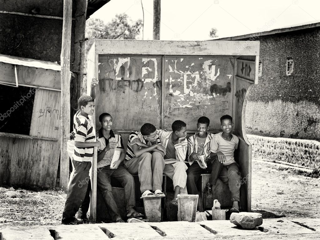 Group of at the Ethiopian bus stop