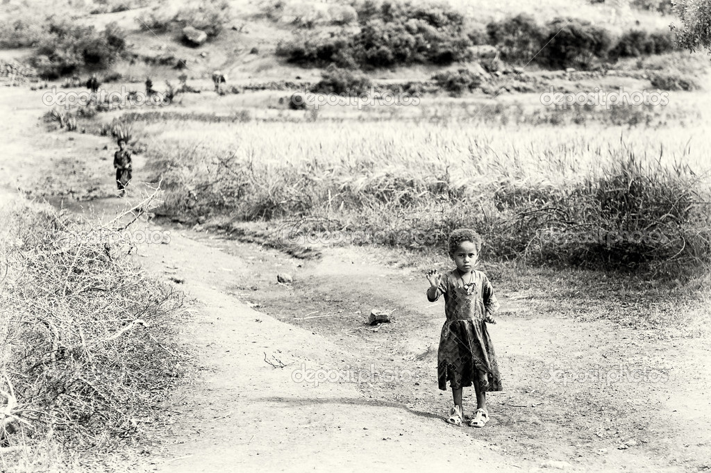 An Ethiopian girls walks by the field