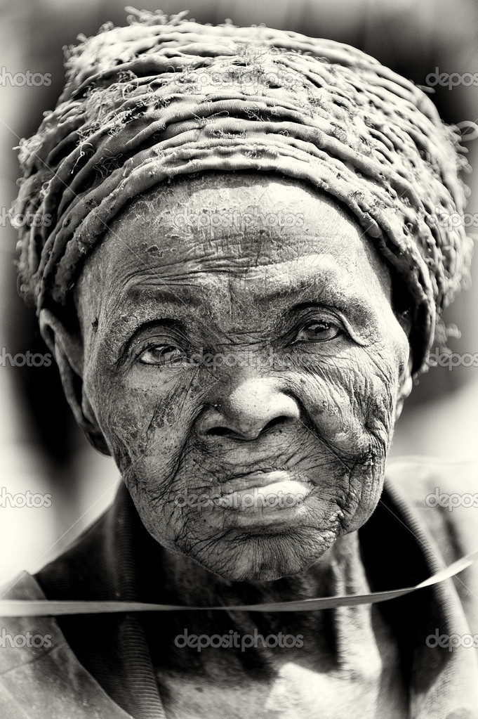 A very old lady from Benin poses for the camera