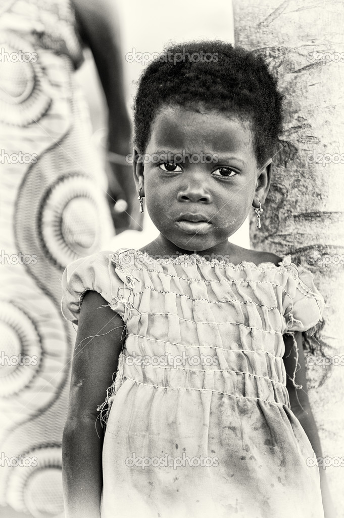 A Benin little girl seems sad