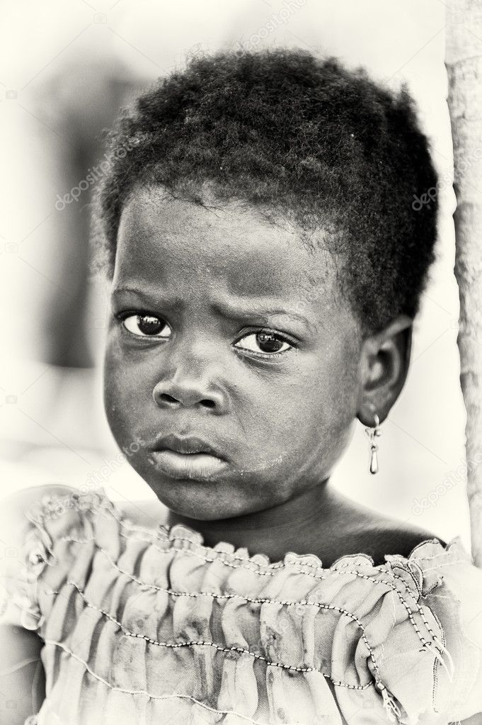 A Benin little girl with sad eyes