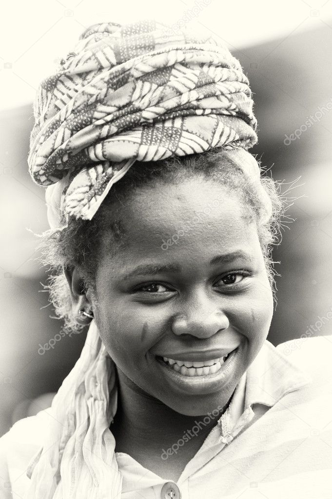 Portrait of the optimistic woman from Ghana