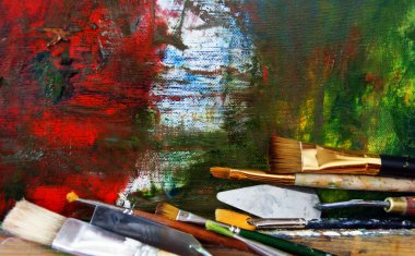 Brushes at easel