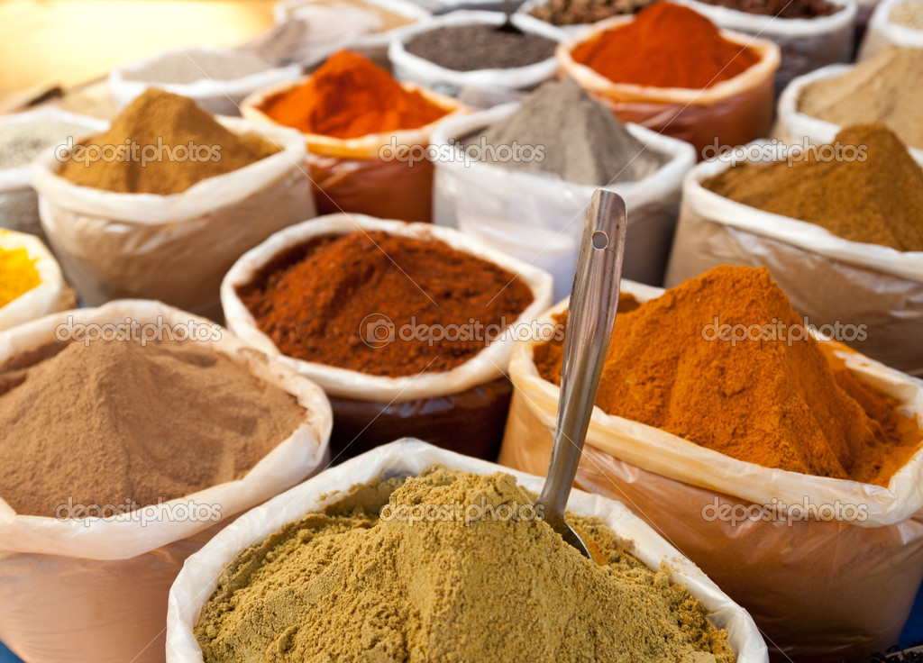 Group of spices at the market