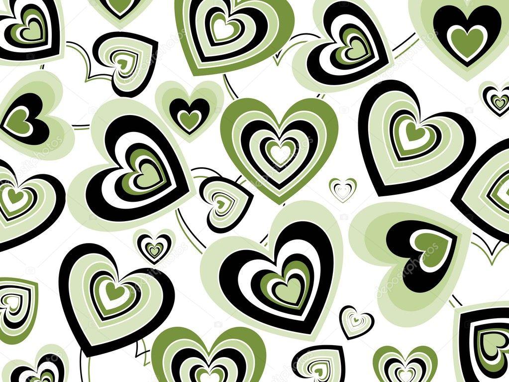 corazones verdes y negros en corazones abstractos — Vector de stock ...