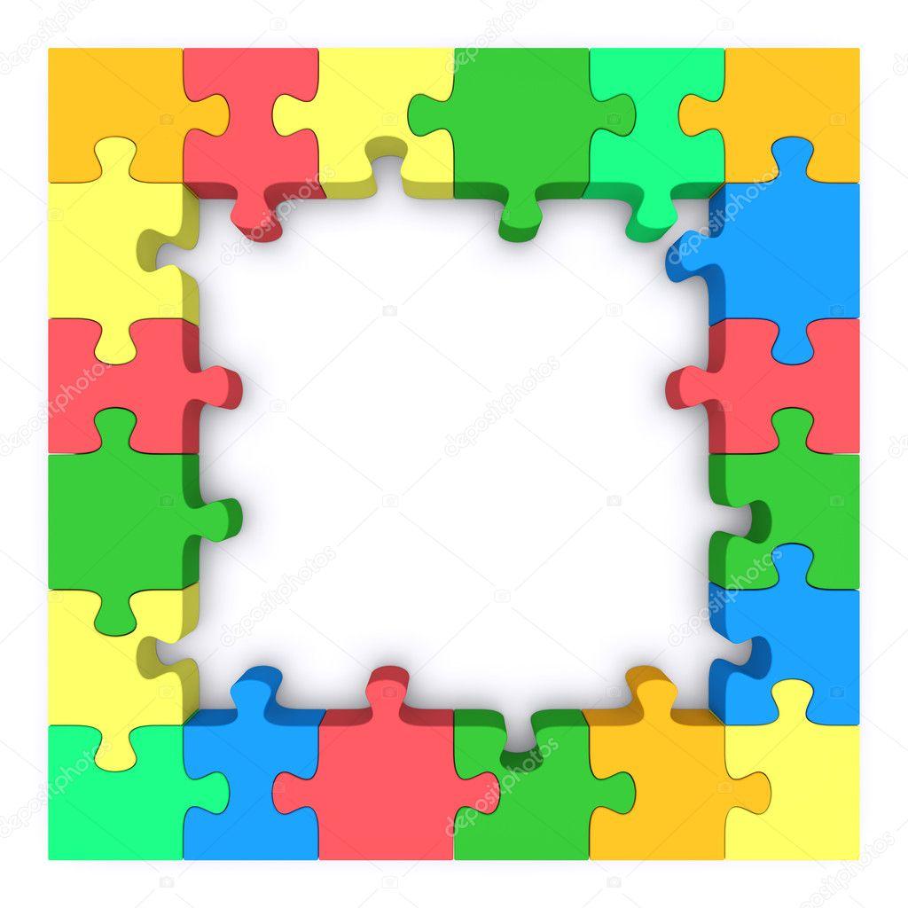 Colored puzzle frame. — Stock Photo © Shtanzman #11557967