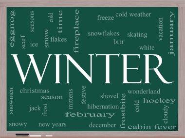 Winter Word Cloud Concept on a Blackboard