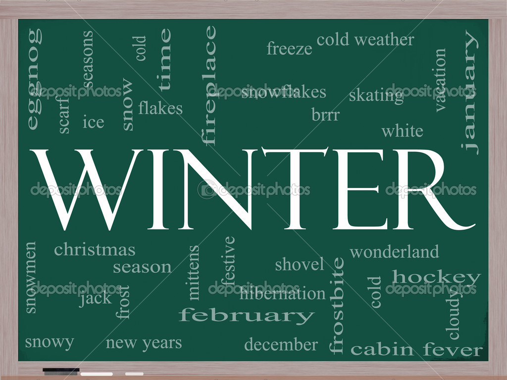 Winter Word Cloud Concept on a Blackboard