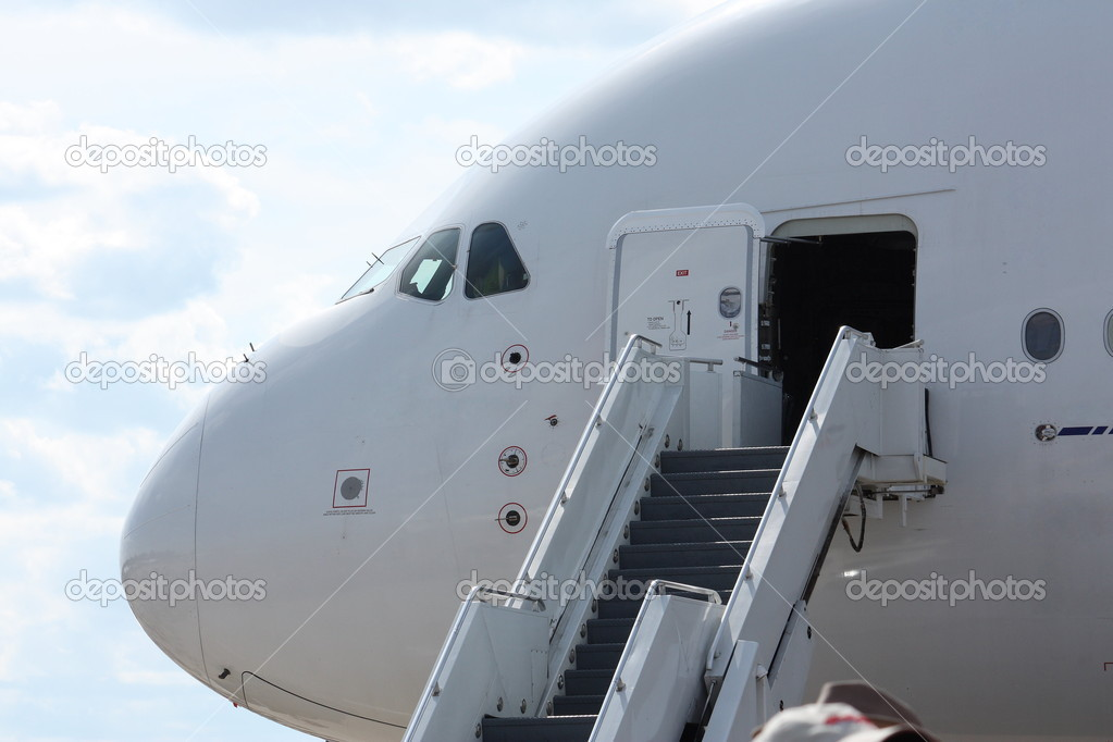 Awesome Stairs For Boarding Airplane U2014 Stock Photo