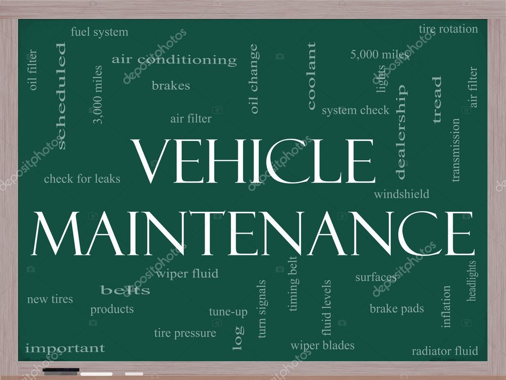 Vehicle Maintenance Word Cloud Concept on a Blackboard
