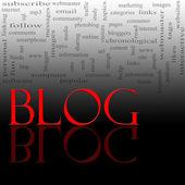 Blog szó felhő piros és fekete
