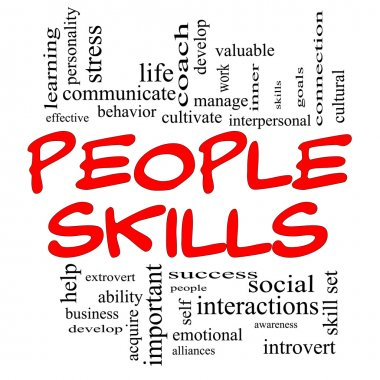 Skills Word Cloud Concept in Red Caps