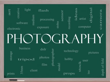 Photography word cloud concept on a blackboard