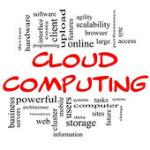 Cloud Computing Word Cloud Concept in Red  Black