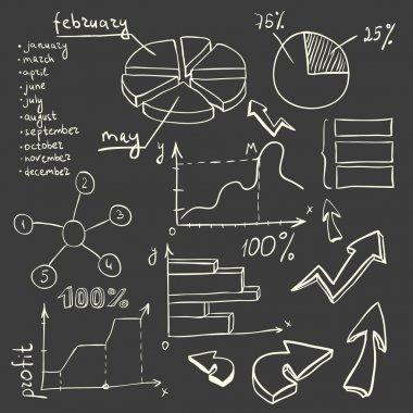 Blackboard with white chalk objects clip art vector