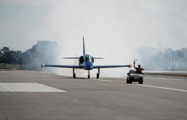 Jet airplane taxiing
