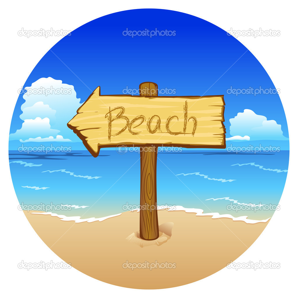 Wooden sign beach