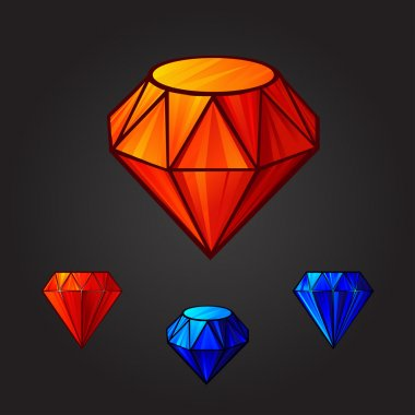 Vector set of diamonds