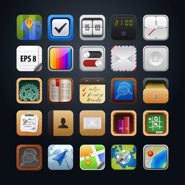 Collection vector web app icon