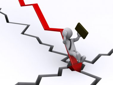 Businessman falling from graph