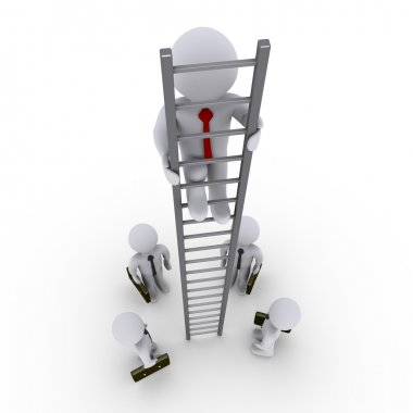 Successful businessman is higher on ladder