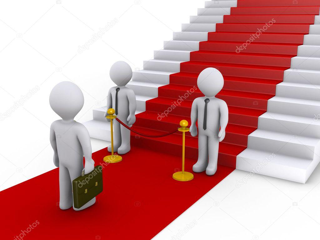 Zakenman wordt toegang tot trap met rode tapijt geweigerd