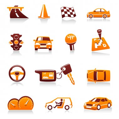 Cars and automotive vector icon set