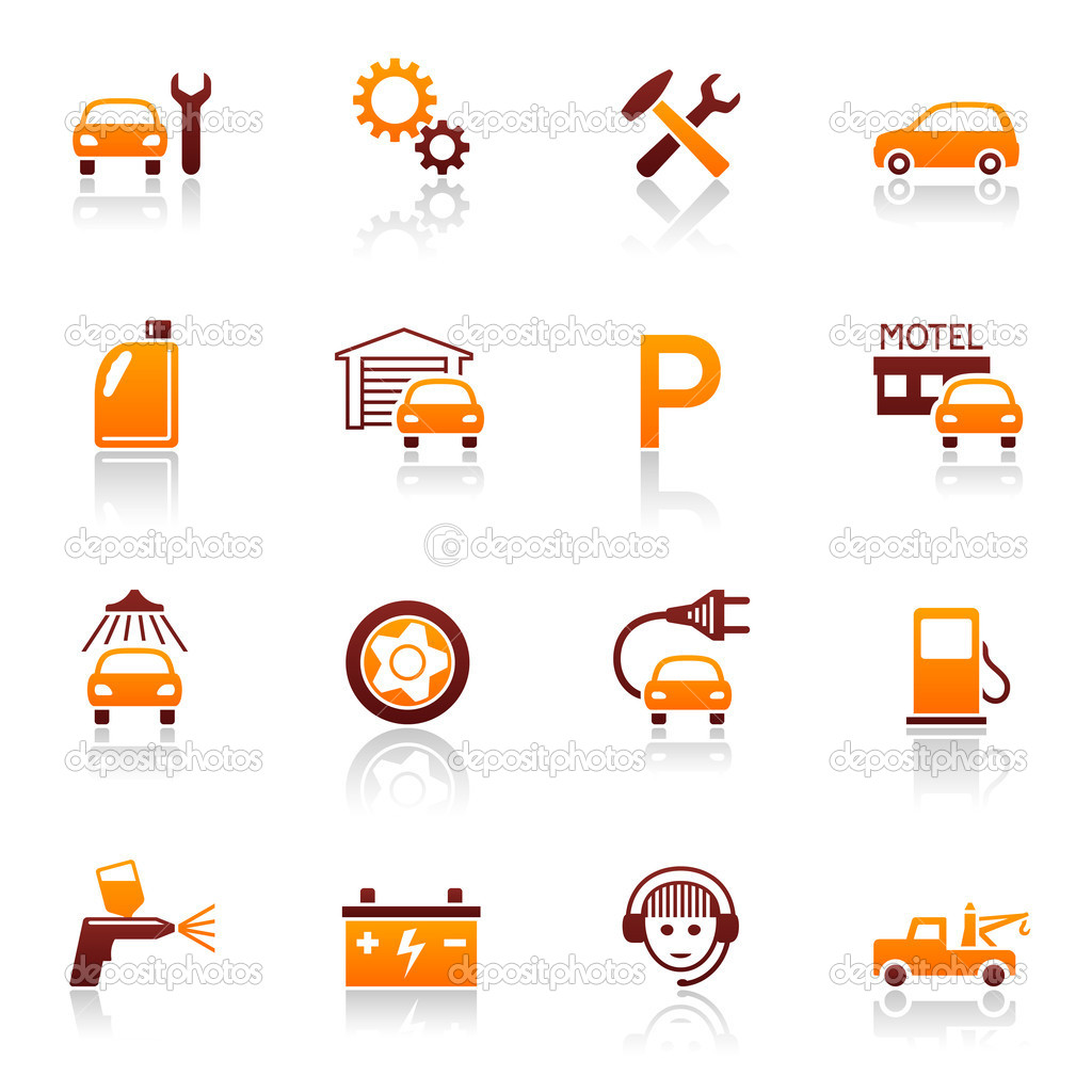Auto service and repair vector icon set