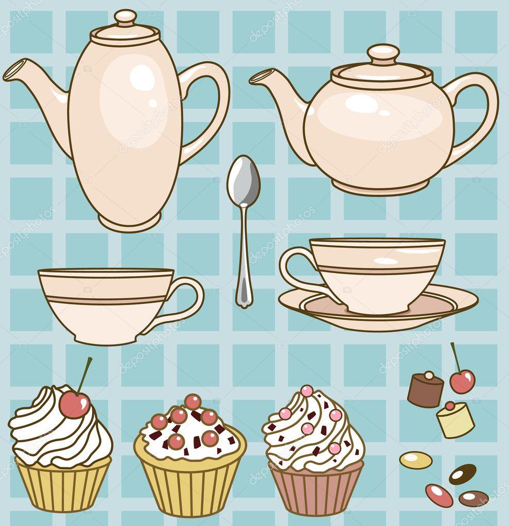 Рисунок с чайником а вокруг конфеты