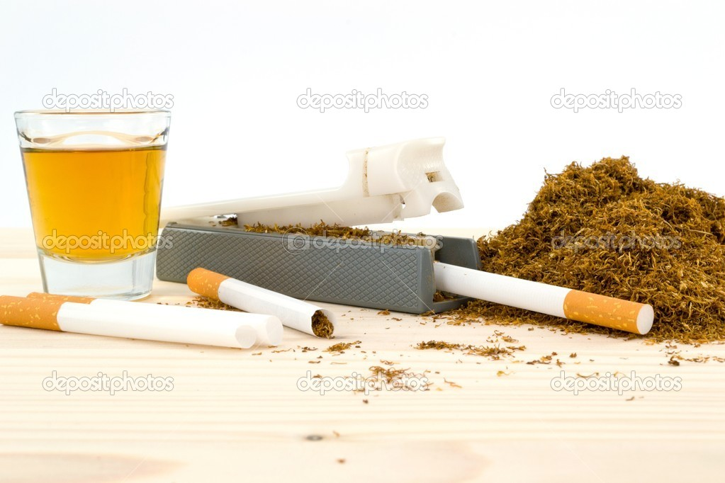 Whiskey, tobacco and cigarette