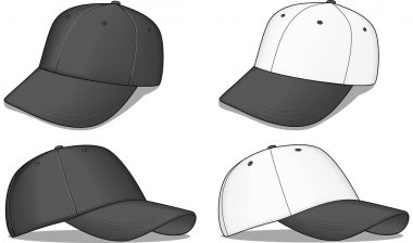 A set of black and white baseball caps