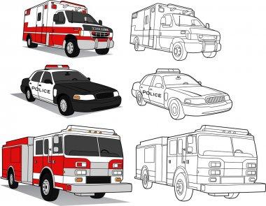 Ambulance, Police Car, Fire Engine