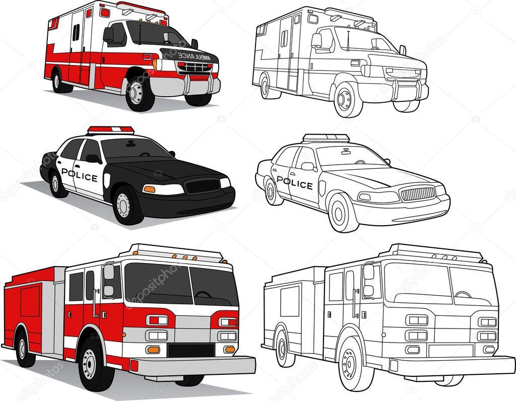 Ambulance Politie Auto Brandweerwagen Stockvector C Meshaq2000