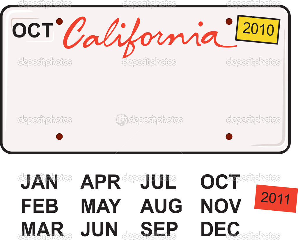 California license plate 2010 stock vector meshaq2000 for California id template download