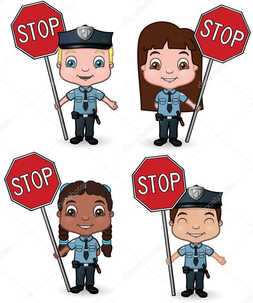 police kids with stop signs u2014 stock vector meshaq2000 11660749