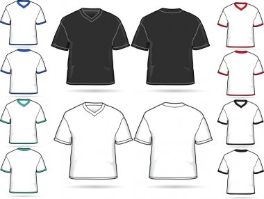 Set of V-neck T-shirts - vector illustration set