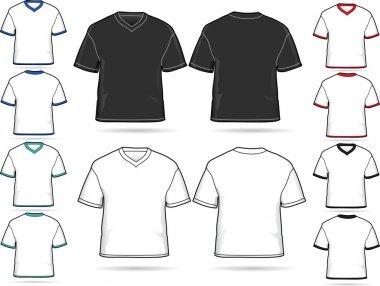 Set of V-neck T-shirts - vector illustration set