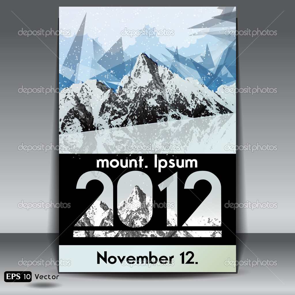 Snow capped mountains event flyer , Vector illustration.