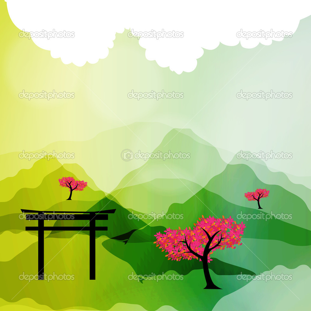 Japanese spring silhouette postcard vector