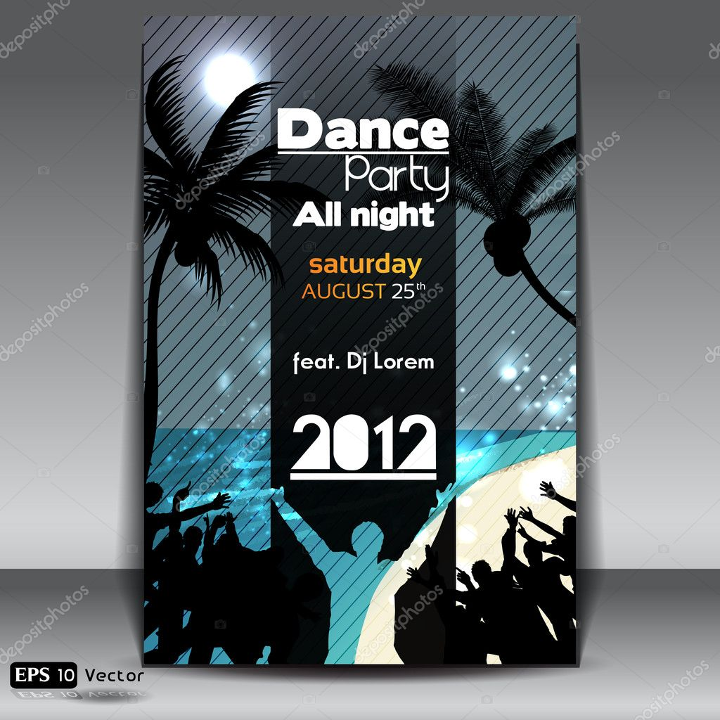 Night Summer Beach Party Flyer with Dancing Young