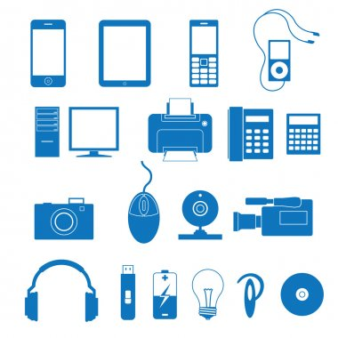 Vector illustration of the icons of the electronics clip art vector