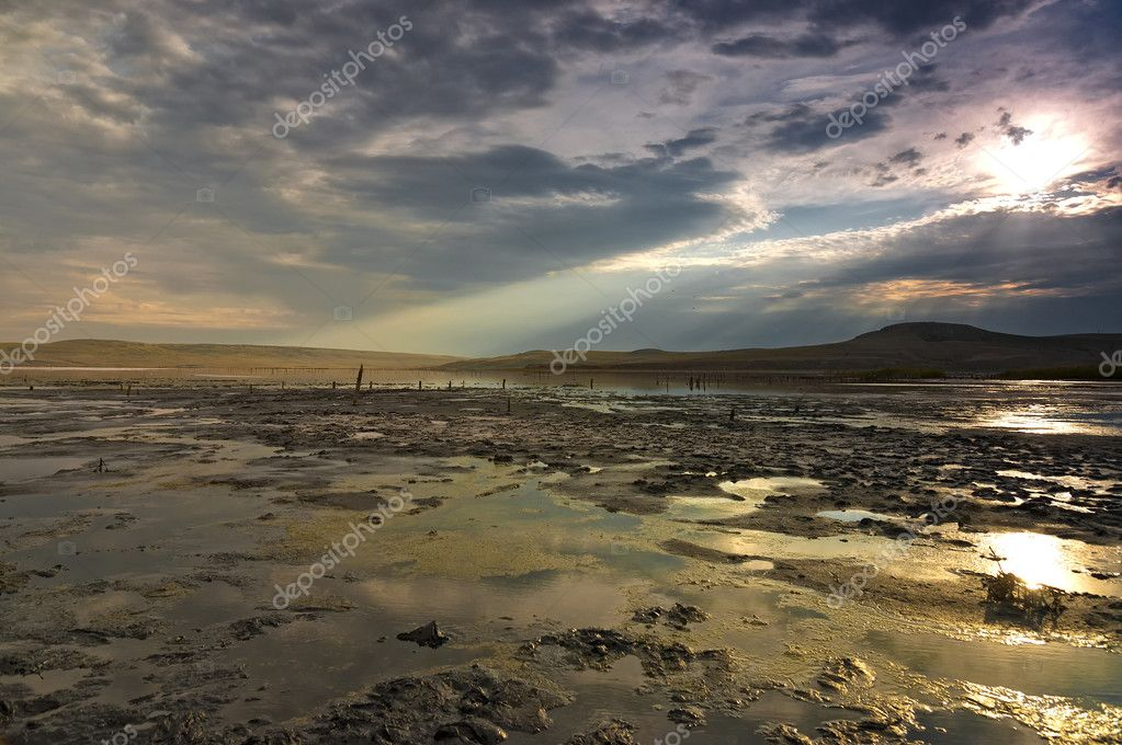 Chokrakskoe lake in Crimea. Chokrak.