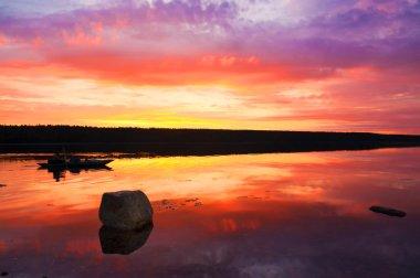 Fantastic sunset on the White Sea near the Kola Peninsula.