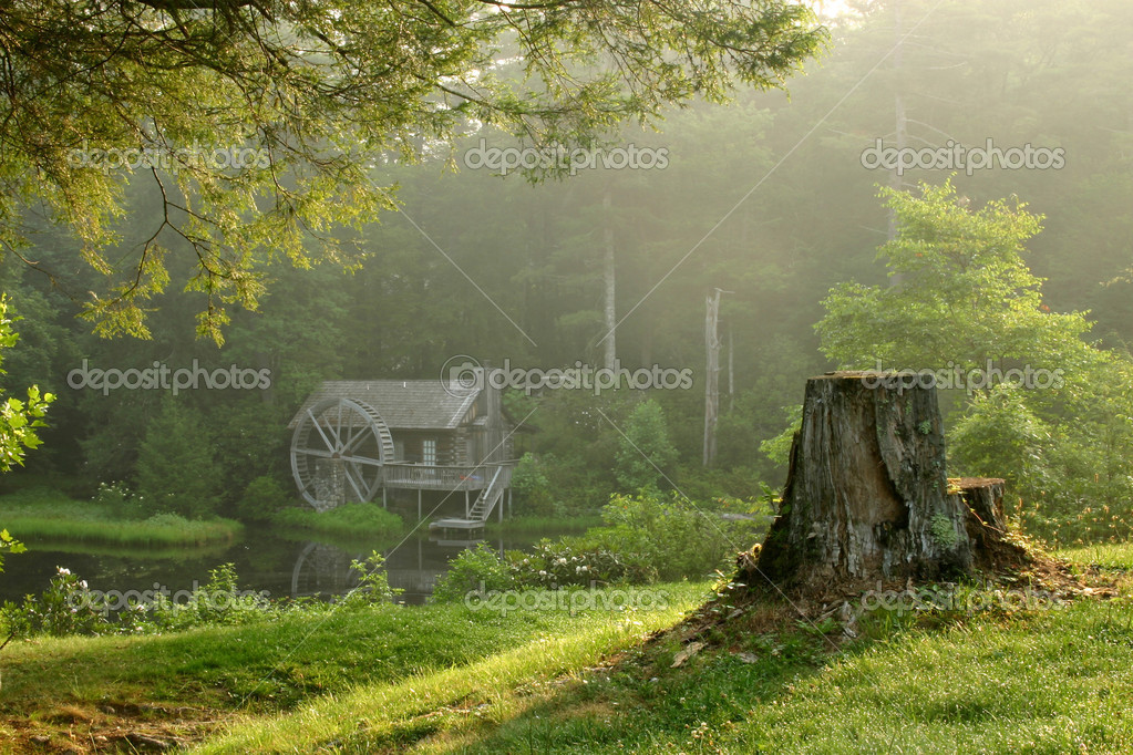 Old watermill in forest at dawn