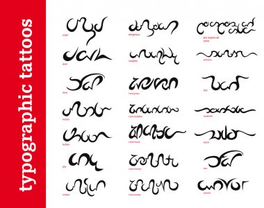 Typographic calligraphic ornamental tattoos / tribals