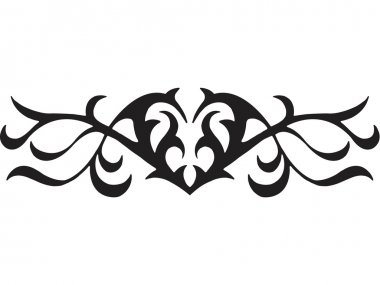 A black and white version of a graphic tribal stencil