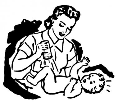 A black and white version of a mother changing a young child's diaper