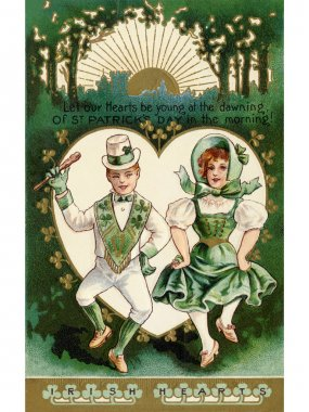 A vintage St. Patricks Day card with a Irish boy and girl doing a jig