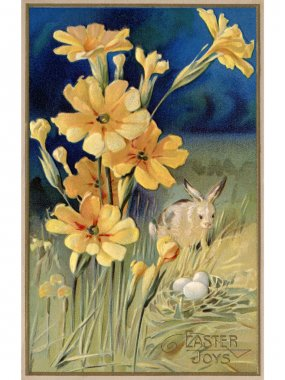 A vintage Easter postcard of spring flowers, a rabbit and eggs