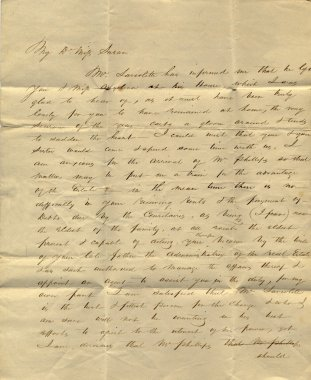 Old letter from mid-19th century